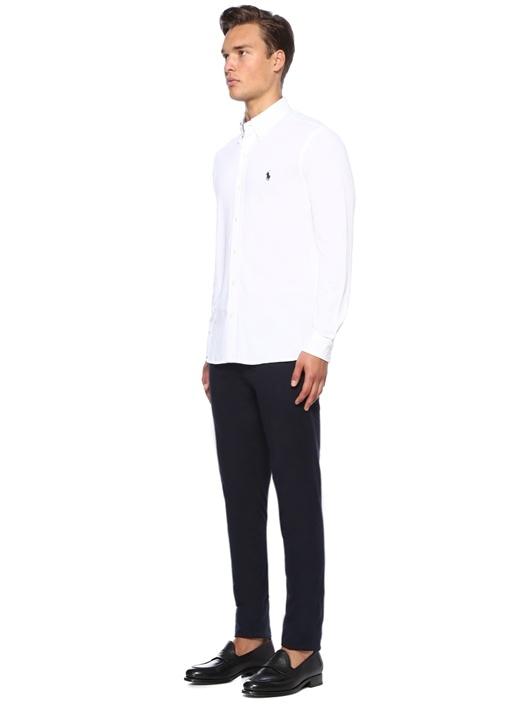 Beyaz Logo Nakışlı Oxford Gömlek