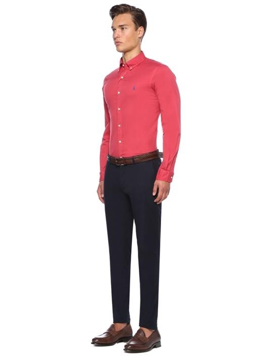 Slim Fit Kırmızı Logolu Gömlek