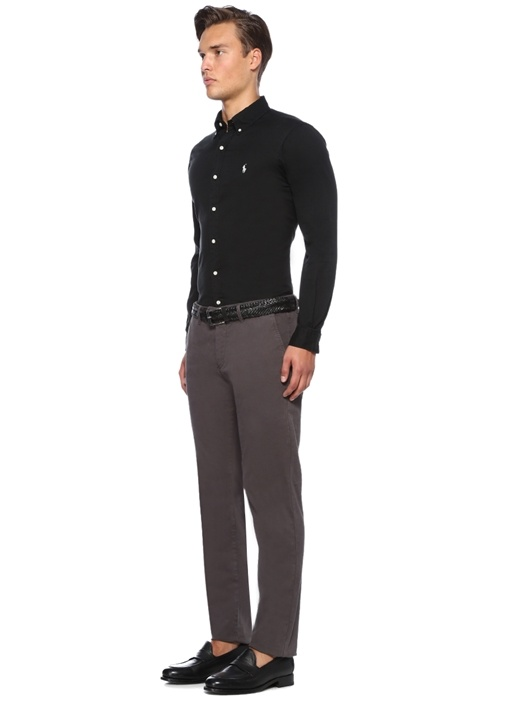 Slim Fit Siyah Logolu Gömlek