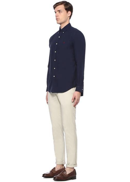Lacivert Düğmeli Yaka Logo Nakışlı Gömlek