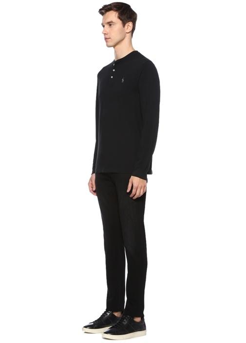 Siyah Bisiklet Yaka Düğmeli Uzun Kollu T-shirt