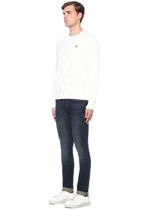 Beyaz Logo Nakışlı Sweatshirt