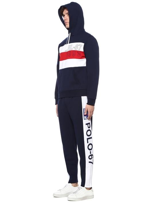 Lacivert Kapüşonlu Şerit Detaylı Sweatshirt