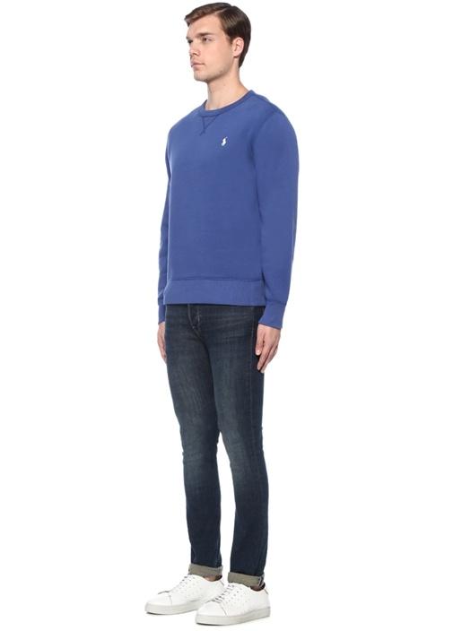 Mavi Bisiklet Yaka Logo Nakışlı Sweatshirt