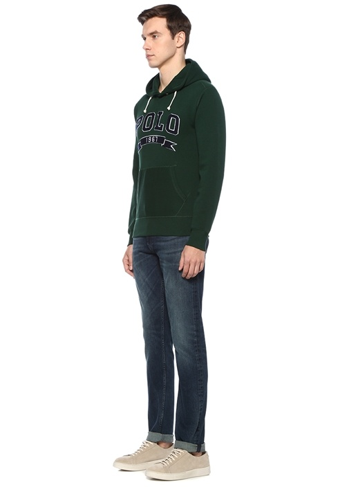 Haki Kapüşonlu Logolu Sweatshirt