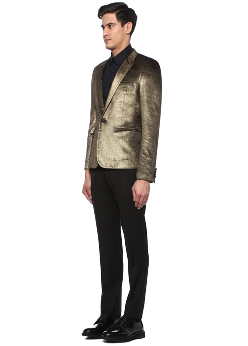Gold Kırlangıç Yaka Tek Düğmeli Kadife Ceket