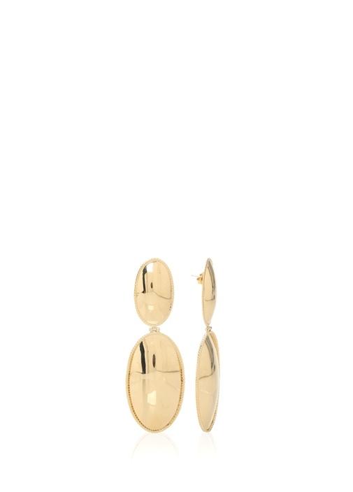 Gold 2li Oval Formlu Kadın Küpe