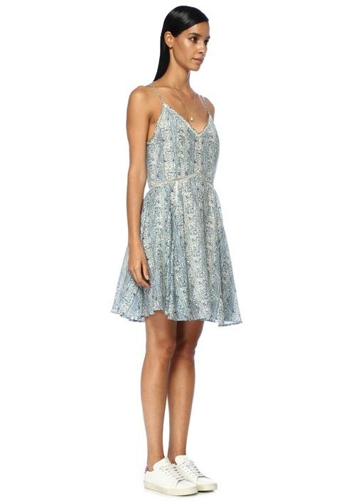Mavi İnce Askılı Pileli Mini Elbise