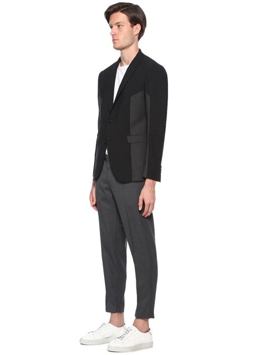 Slim Fit Antrasit Kelebek Yaka Colorblocked Ceket