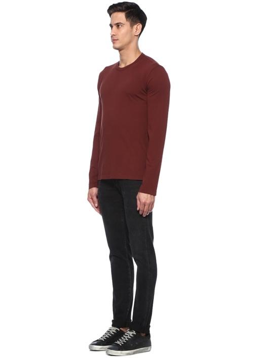 Kahverengi Bisiklet Yaka Uzun Kollu T-shirt