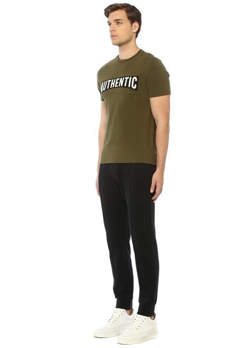 Slim Regular Fit Haki Baskılı Basic T-shirt