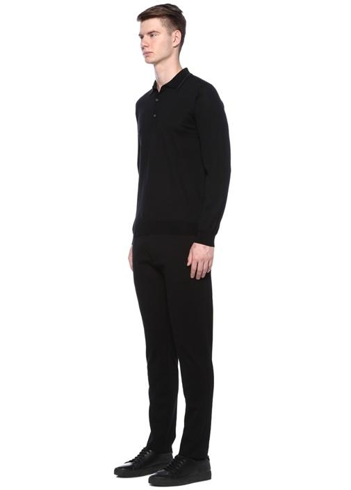 Maglione Siyah Polo Yaka Yün Kazak