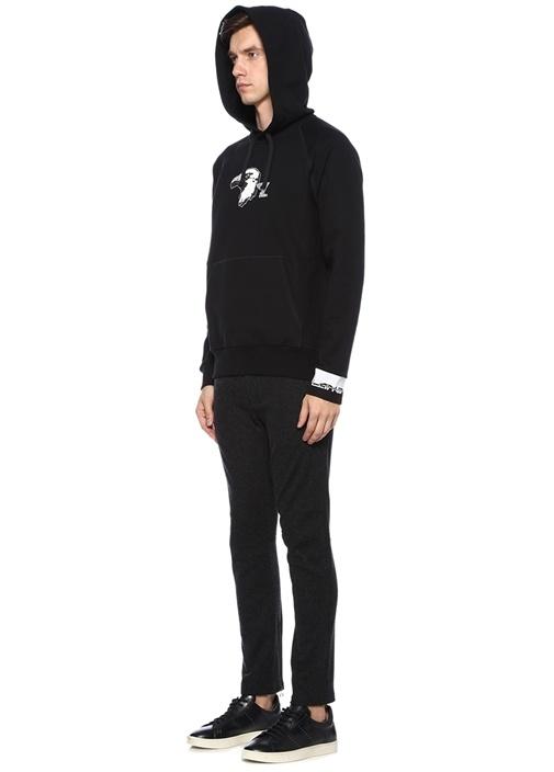 Siyah Kapüşonlu Kartal İşlemeli Sweatshirt