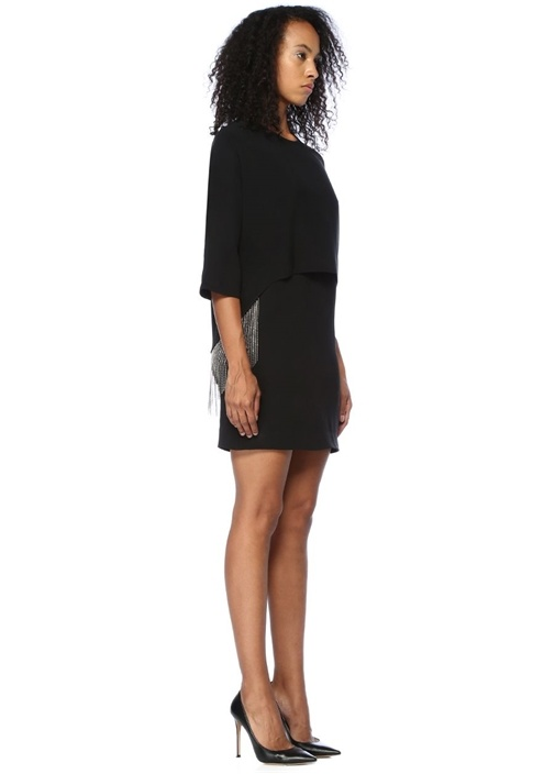 Siyah Püsküllü Zincirli Mini Kokteyl Elbise