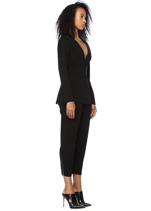 Siyah Yüksek Bel Crop Triko Pantolon