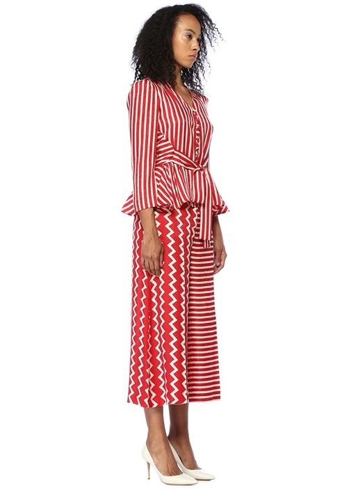 Kırmızı Beyaz Yüksek Bel Bol Paça İpek Pantolon