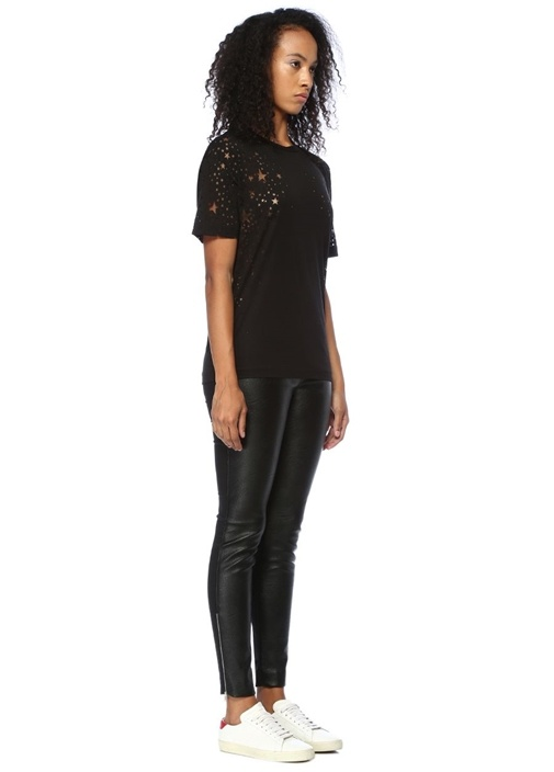 Siyah Bisiklet Yaka Transparan YıldızlıT-shirt