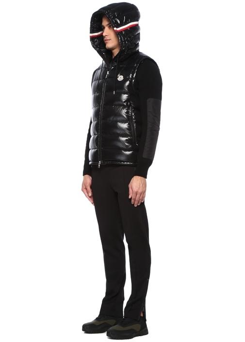 Lanoux Siyah Kapüşonlu Şerit Detaylı Puff Yelek