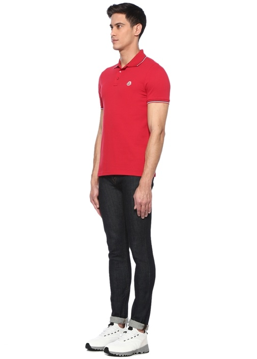 Kırmızı Polo Yaka Şeritli T-shirt
