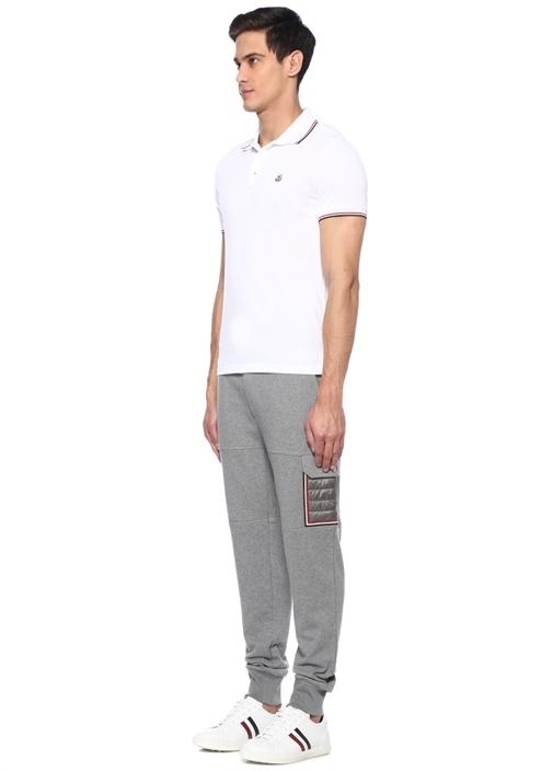 Beyaz Logolu Polo Yaka Pike Dokulu T-shirt