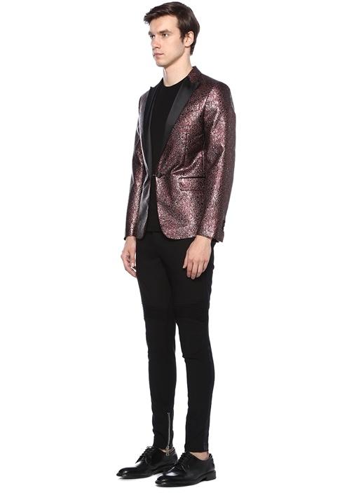 Siyah Bordo Kırlangıç Yaka Leopar Desenli Ceket