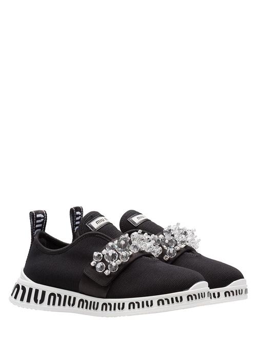 Siyah Taş Detaylı Logolu Kadın Sneaker
