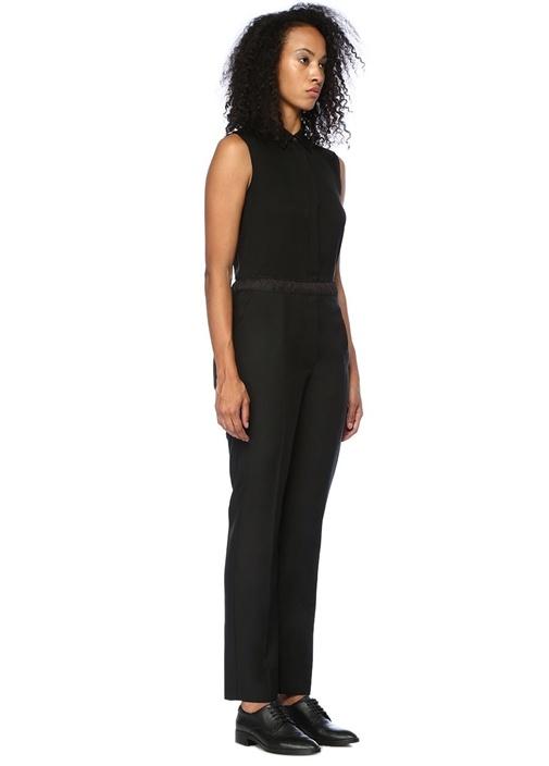 Siyah Yüksek Bel Pileli Yün Pantolon