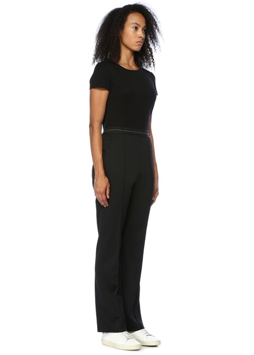 Siyah Yüksek Bel Logolu Boru Paça Pantolon