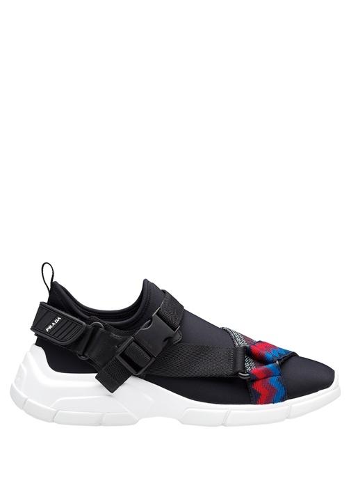 Siyah Etnik Desen Bantlı Logolu Kadın Sneaker