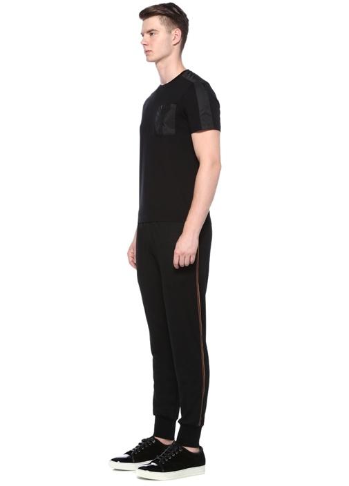 Siyah Bisiklet Yaka Cepli Garnili BasicT-shirt