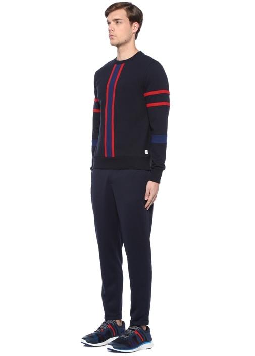Lacivert Bisiklet Yaka Renkli Şeritli Sweatshirt