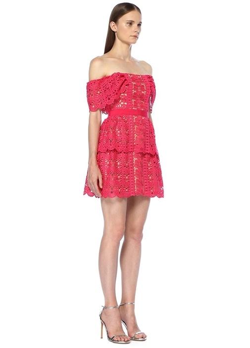 Pembe Düşük Omuzlu Dantelli Mini Elbise