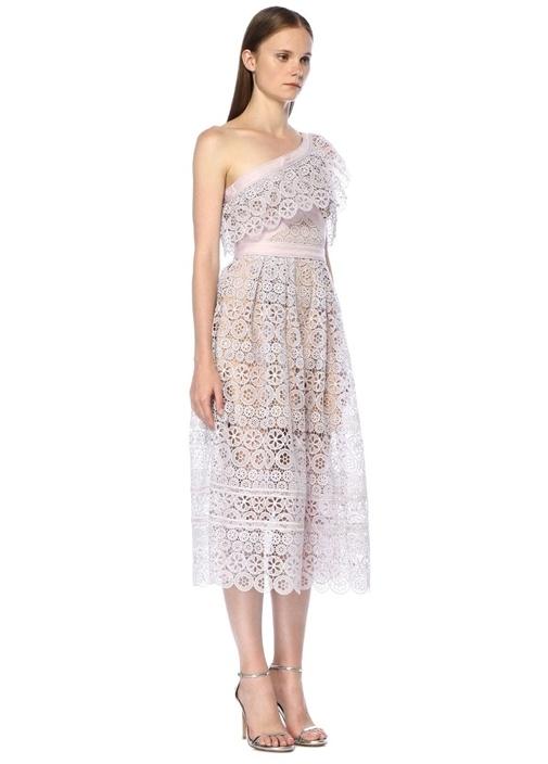Lila Tek Omuzlu Midi Elbise