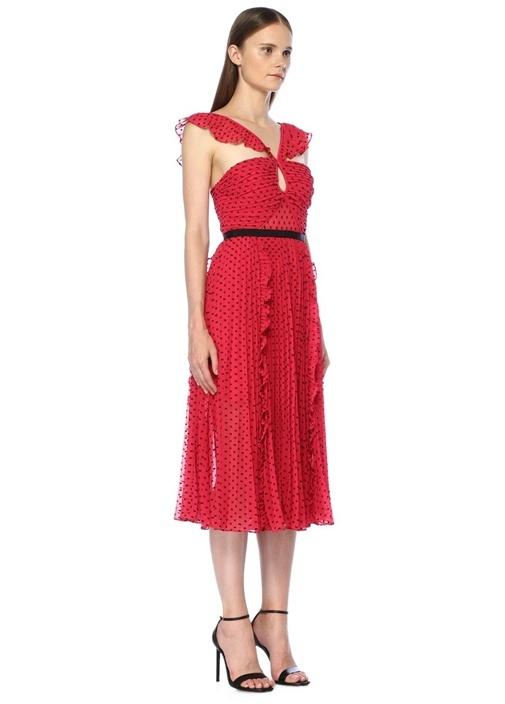 Pembe Mikro Desenli Çapraz Askılı Midi Elbise