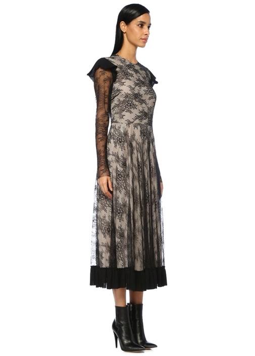 Siyah Dantel Garnili Fırfırlı Midi Elbise