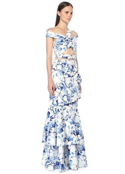Conchita Mavi Beyaz Çiçekli Drapeli Maksi Etek