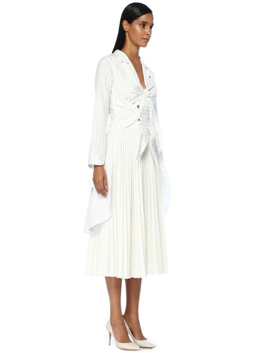 Esperanza Beyaz Çizgili Önü Çift Bağcıklı Bluz