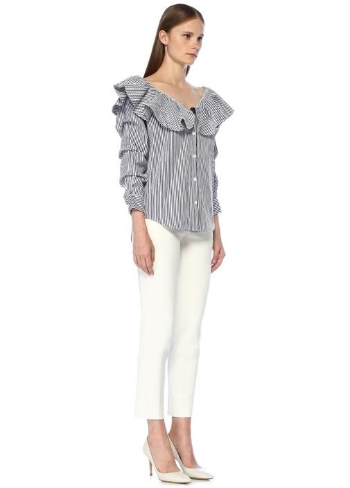 Paola Mavi Beyaz Çizgili Volanlı Gömlek