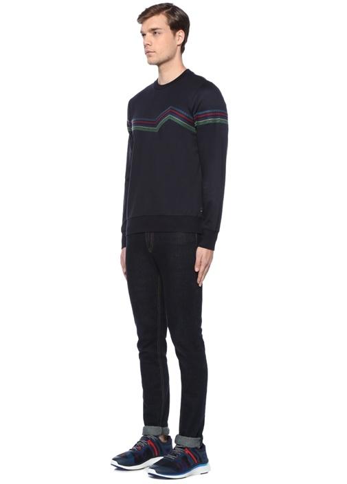 Lacivert Bisiklet Yaka Renkli Nakışlı Sweatshirt
