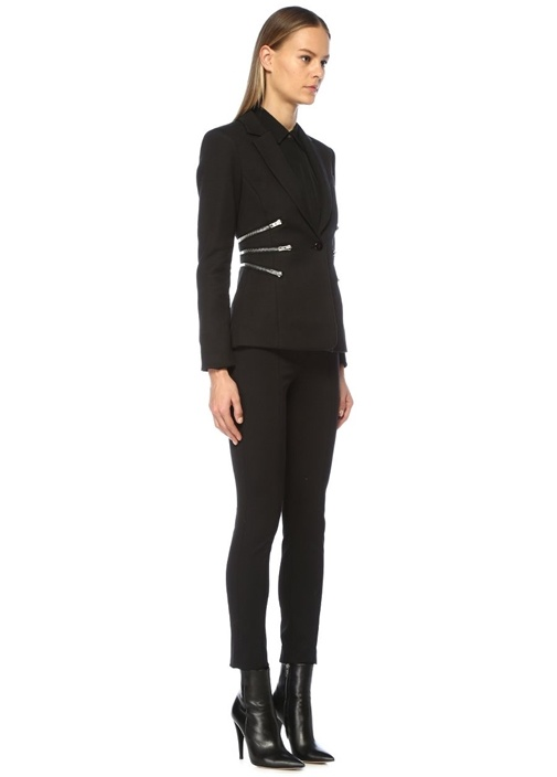 Siyah Kelebek Yaka Fermuarlı Blazer Ceket