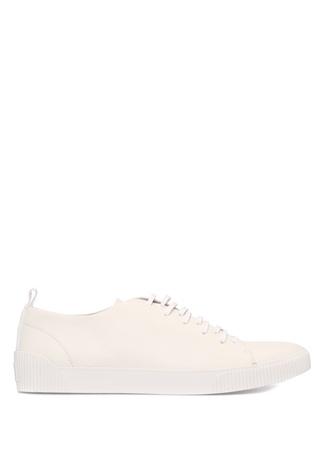 Beyaz Bağcıklı Erkek Deri Sneaker