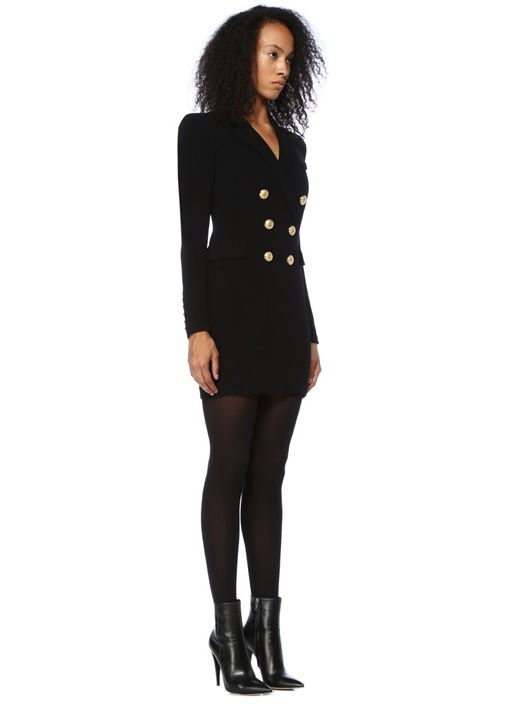 Siyah Kruvaze Yaka Çift Sıra Düğmeli Mini Elbise