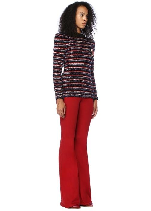 Kırmızı Normal Bel Bol Paça Jean Pantolon