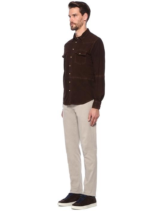 Kahverengi İngiliz Yaka Süet Gömlek