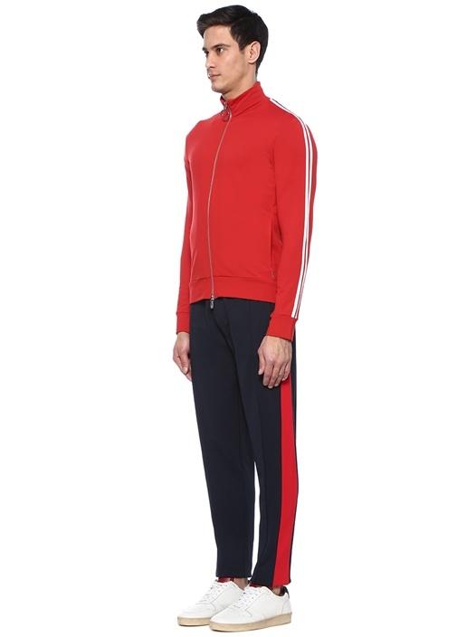Kırmızı Kolları Şeritli Dik Yaka Sweatshirt