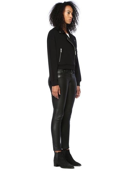 Nina Siyah Kelebek Yaka Pamuklu Biker Ceket