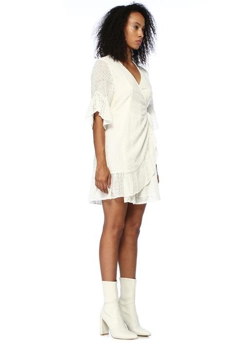 Marlow Ette Beyaz Nakışlı Mini Anvelop Elbise