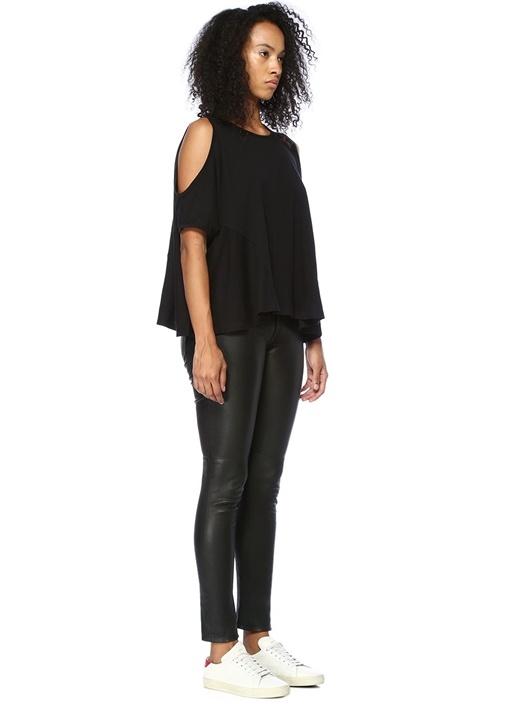 Ella Fifi Siyah Omzu Açık Asimetrik T-shirt