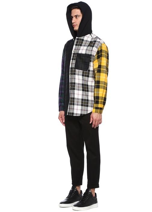 Siyah Sarı Kapüşonlu Ekose Desenli Gömlek