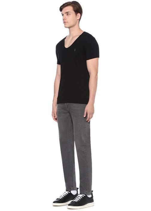 Tonic V Yaka Siyah Basic T-shirt